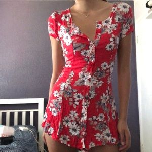 Red & white floral dress
